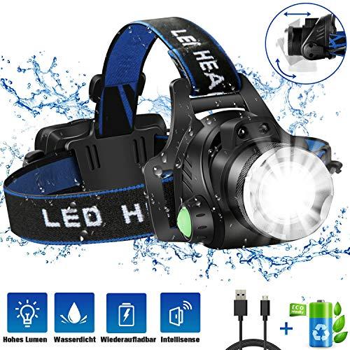 Stirnlampe, JOMARTO LED Kopflampe USB Wiederaufladbare Headlight, IPX4 Wasserdichter T004 Kopfleuchte mit 4 Modi und verstellbarem Stirnband, perfekt für Angeln, Camping, Klettern, Autoreparatur
