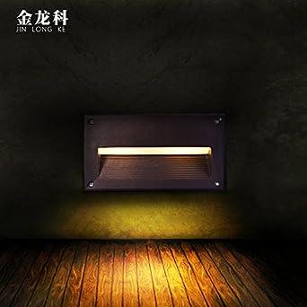Lámpara de pared Moderna Cálido,Moda Agradable Luz de LED empotrado esquina exterior impermeable pasillo escalera paso pie paso pie línea pasillo pared lámpara, medio incrustado (5W) 16.5 * 10.5CM: Amazon.es: Iluminación