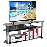 Rfiver Corner Glass TV Stand with Cable Management for TVs up to 60