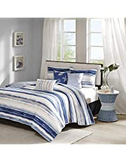 Madison Park MP13-2426 Marina 6 Piece Quilted Coverlet Set, King/California King, Blue