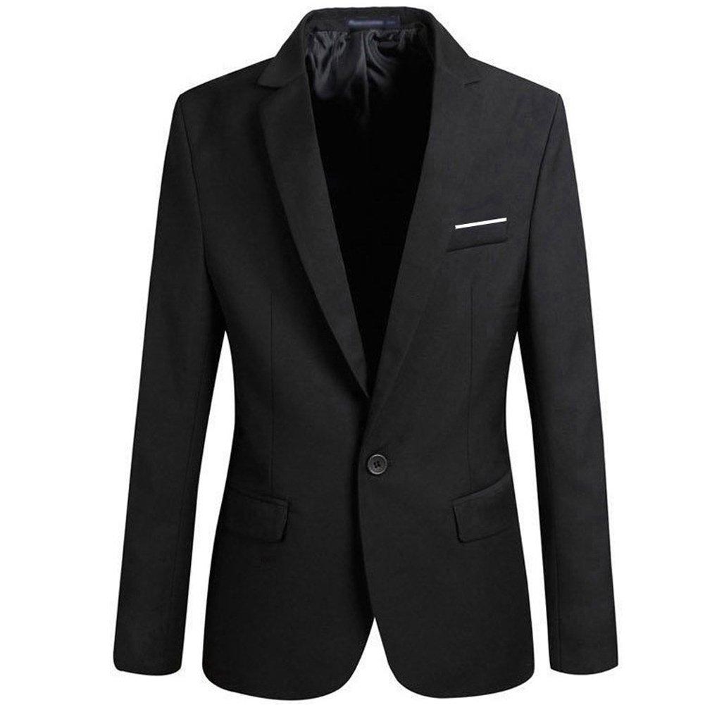 MS LOVE Mens Slim Fit Casual One Button Blazer Jacket Black XXL