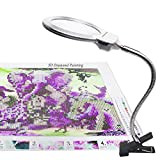 5D Diamond Painting Tools, LED Light with Magnifiers for Diamond Painting, 4X & 6X Magnifier LED Light with Clip and Flexible Neck, 5D Diamond Painting and Cross Stitch Tool Accessory Magnifier Lamp