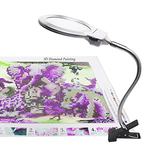 - 5D Diamond Painting Tools, LED Light with Magnifiers for Diamond Painting, 4X & 6X Magnifier LED Light with Clip and Flexible Neck, 5D Diamond Painting and Cross Stitch Tool Accessory Magnifier Lamp