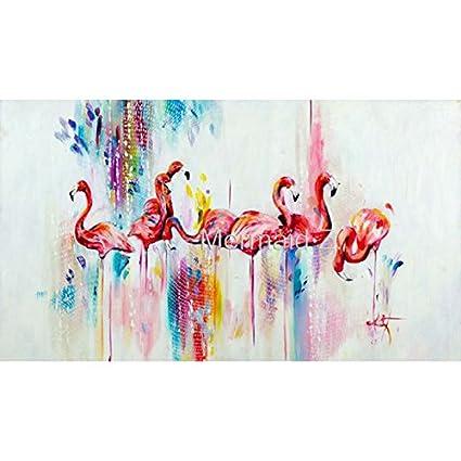 Mano pintado moderno estilo abstracto animales flamencos de pintura ...