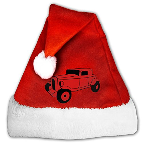 Hot Fuzz Fancy Dress Costume (DSFIEOHAT 2col Hot Rod Oldtimer Custom Cars Automobil Tuning Red Santa Hat Christmas Santa Hats For Adults Or Children)