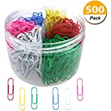 Codall 500 Pieces Colored Paper Clips, 33mm, Assorted Colors