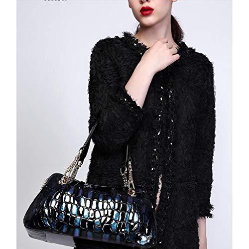 Shoulder Blue Cowhide Pattern Blue Bag Handbag color Crocodile Large Capacity Women's vBwEqZ