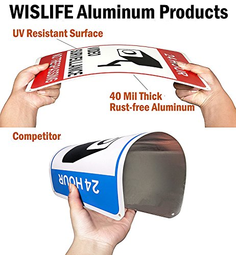 WISLIFE Video Surveillance Sign Set, 2 (10'' X 7'') Aluminum Warning Signs & 6 (6''X6'') Window Stickers, Video Security Signs by WISLIFE (Image #6)
