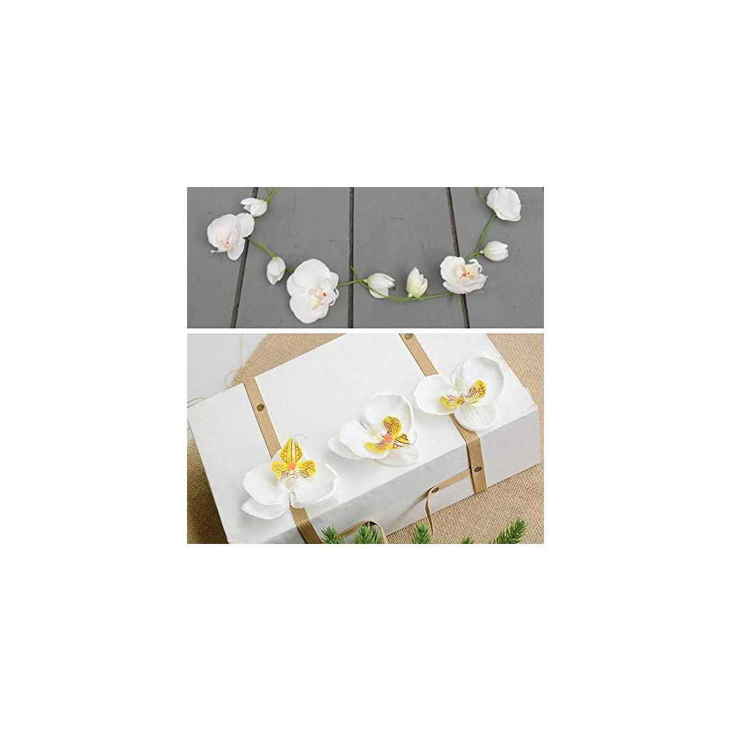 HZOnline Artificial Silk Phalaenopsis Flower Heads, Fake Butterfly Orchid Head Floral Bouquet for Crafts Wedding Decoration DIY Making Bridal Hair Clips Headbands Dress Photography Props (20pcs White)