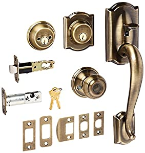 Schlage F62CAM609GEO Antique Brass Camelot Double Cylinder Handleset with Georgian Interior Knob from The F-Series