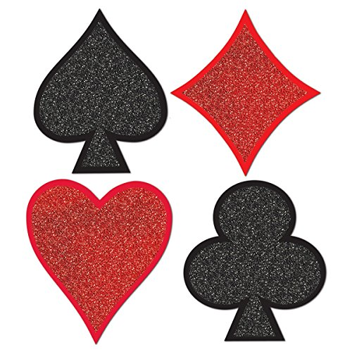 Club Pack of 48 Casino Night Themed Glittered Foil Card Suit Cutout Decorations 13