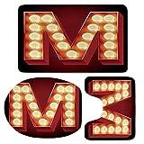 3 Piece Bath Mat Rug Set,Letter-M,Bathroom Non-Slip Floor Mat,Vintage-Alphabet-Collection-of-Old-Movie-Theaters-Casinos-Retro-Type-Decorative,Pedestal Rug + Lid Toilet Cover + Bath Mat,Vermilion-Yello