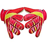 Goalkeeper Goalie Soccer Gloves - Kids & Youth Football Goal Keeper Gloves with Embossed Anti-Slip Latex Palm and Soft PU Hand Back (Red, 7)