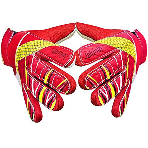 Goalkeeper Goalie Gloves - Kids & Adults Football Goal Keeper Gloves with Embossed Anti-Slip Latex Palm and Soft PU Hand Back (Red, 5) (Camo Goalie Jersey)