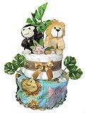 Safari Diaper Cake for a Baby Shower Gift - Gender Neutral Centerpiece