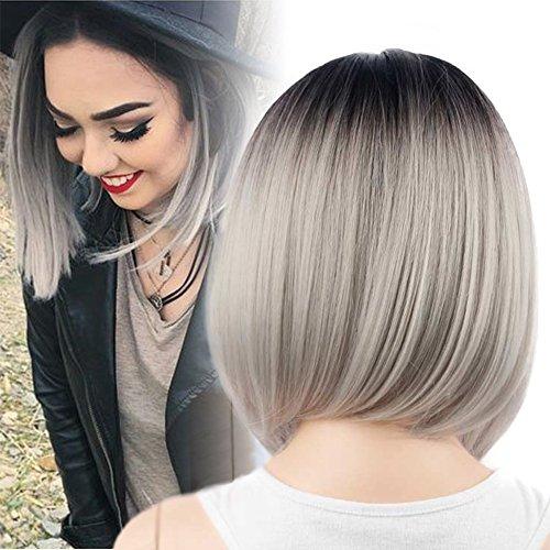 [Netgo Bob Wig Grey Ombre Wigs Short Straight Synthetic Hair Full Wig for Women] (Short Hair Wig)