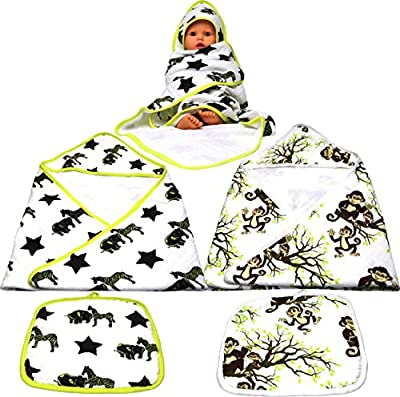 ChaBabee Large 4-Piece Set Baby Infants to Toddlers and Beyond Muslin 100% Cotton Hooded Bath Towels + Washcloths Set Unisex for Boys or Girls – Monkeys Green Brown | Zebra Elephant Black