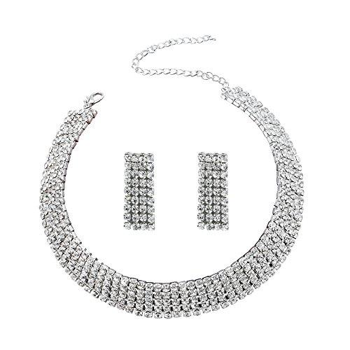 YINLI Clear 5 Row Crystal Rhinestone Gem Choker Necklace Earrings Jewelry Set for Bridal (Clear Bezel Set Gem)