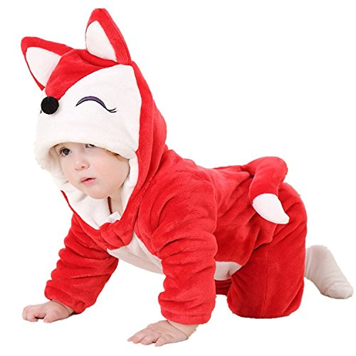 Fox 8 Halloween Costumes (MerryJuly Unisex-baby Animal Onesie Costume Cartoon Outfit Homewear (90cm/(12-18 Months), Red Fox))