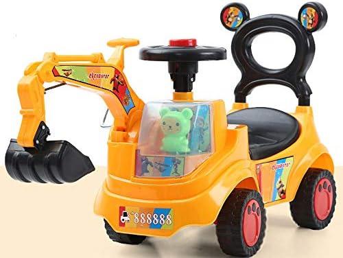 AIOJY 掘削機 座るおもちゃ 車 特大バランス 車 手動操作 ベビースクーター 4ラウンドインフレータブル 耐摩耗 電気工事 車両 スライドカー 回転フック マシン 男の子 ブル。 A-17575