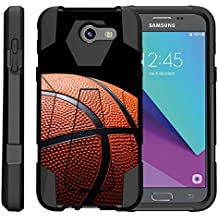 TurtleArmor | Compatible for Samsung Galaxy J3 Emerge Case | J3 (2017) [Dynamic Shell] Dual Hybrid Hard Impact Cover Kickstand Sports and Games Design - Basketball Seams