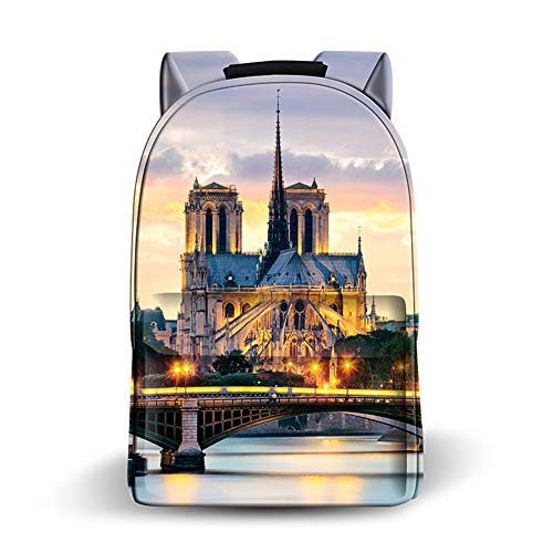 - LUGUMU Notre Dame Paris Backpack PU Leather Classical Waterproof School Rucksack for Teenagers Retro Casual Travel Outdoor Shoulder Bag