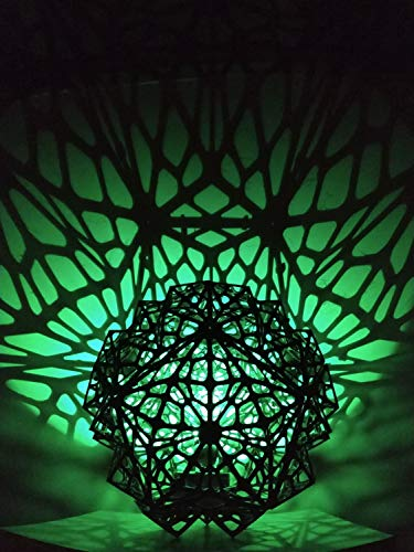 Shadow Lamp Shade Sacred Geometry Voronoi Pattern With RGB LED Light and Controller