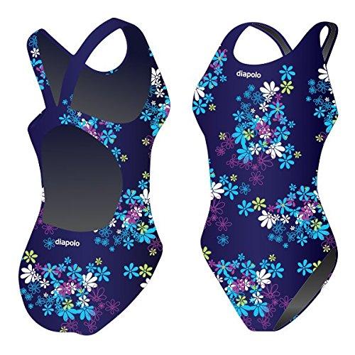 Diapolo Blue Flowers Badeanzug aus der Flowers Kollektion für Schwimmen Synchronschwimmen Wasserball Thriathlon