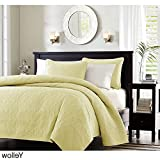 3 Piece 104 x 94 Extra Wide Eggshell Yellow Quilted Coverlet King Set, Oversized Bedding French Country Classic Stitched Lightweight Summer Drops Over Edge of Mattress, Microfiber Polyester