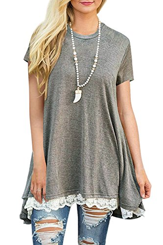 Calvin & Sally Women Summer Tunic Dress Lace Short Sleeve T-Shirt Dress (Grey - Cotton Calvin Tunic