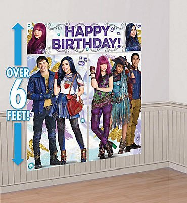 Disney Descendants 2 Scene Setters Photo Backdrop Wall Decorating Kit 5 piece set Birthday Party Supplies -