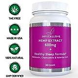 Healthy Sleep Aid | Full Spectrum Hemp Extract 600mg, Melatonin Valerian Root Chamomile | Hemp Oil Extract for Pain Anxiety and Stress Relief | Herbal Sleep Aid | Omega 3-6-9 | Jet Lag | 30 Pills