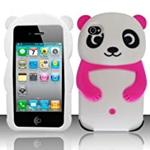 EEA 3D Silicone Cute Panda Case Cover for iPhone 4 4S (Hot Pink)