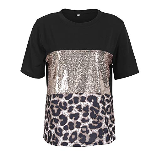 Women's Sequin Short Sleeve Shirt,Fashion Eyelash Leopard Print Loose Fit O-Neck Plus Size Stitching Blouse Tops ()