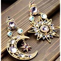 Jaywine2 1 Pair Asymmetric Antiallergic Cats Eye Opal Stone Star Moon Drop Woman Earring