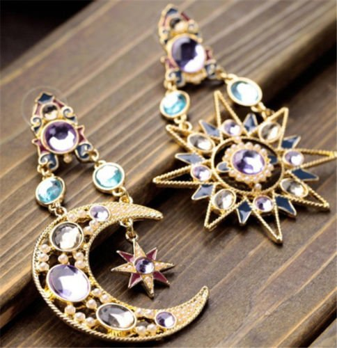 Jaywine2 1 Pair Asymmetric Antiallergic Cat's Eye Opal Stone Star Moon Drop Woman Earring (White Eye Cats Pearl)