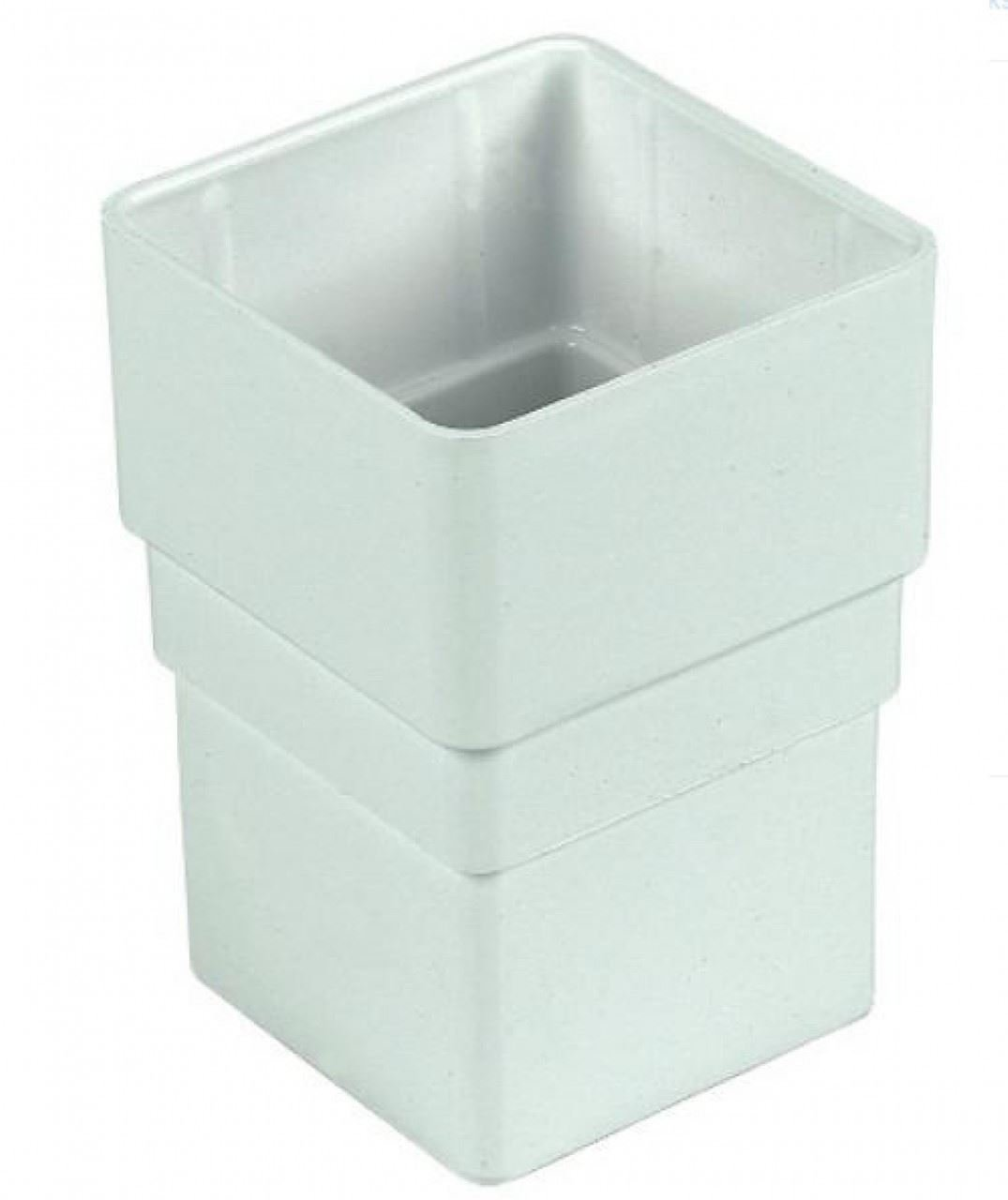 FLOPLAST 65mm Square Downpipe Socket - White - Pack of 2