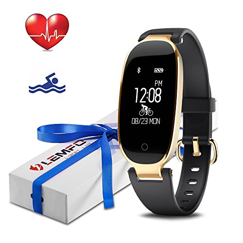 LEMFO Fitness Tracker Heart Rate Monitor Women Swimming Waterproof Activity Tracker Smartband Sleep Monitor Pedometer Bracelet Bluetooth Fitness Smart Watch Wristband for Android iOS Phones(Black)