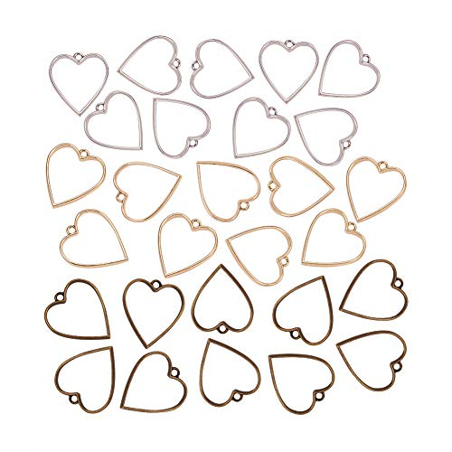 OLYCRAFT 30pcs Color-Lasting Heart Open Bezel Charms Alloy Frame Pendants Hollow Resin Frames with Loop for Resin Jewelry Making - Golden & Platinum & Antique Bronze