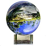 KARSLORA Clear Crystal Glass Sphere Ball with Stand, 2.75''/70mm K9 Crystal Photography Prop Decoration Art Decor, Comes in Gift Box