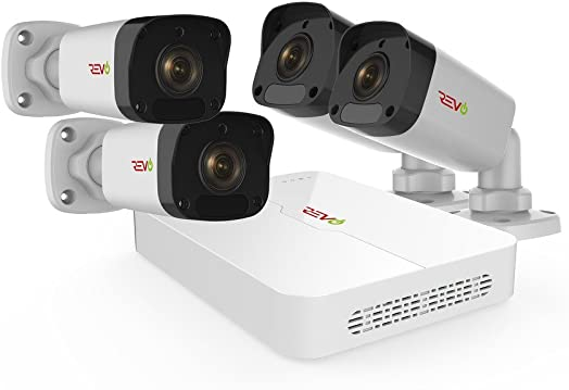 Revo America Ultra HD 4 Ch. 1TB HDD IP NVR Video Surveillance System, 4 x 1080p Bullet Security Cameras – Remote Access via Smart Phone, Tablet, PC MAC