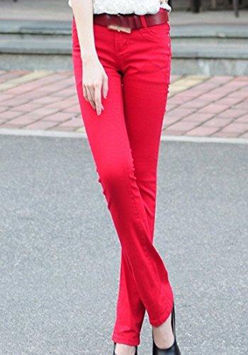 Femmes Unie Micro Pantalons Rouge Fit Évasé Élasticité Jeans Denim 1 Slim Skinny Couleur rdBeWCxo
