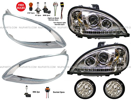 Freightliner Columbia Headlight with LED and Fog Lamp and Bezel Chrome Driver & Passenger Side