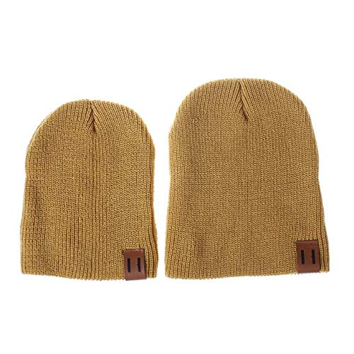 76d55f7f44d Elvy 2018 Arrival Cute Kid Babies Beanies Hats Baby Crochet Knit Solid  Color Hat Daddy and Me Boy Girls Matching Warm Winter Hat Caps  Amazon.in   Clothing   ...