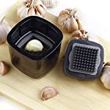 Garlic Press and Slicer Professional Garlic Press MINI Garlic Cutter BEST Garlic Press For cooking TWO kinds of Stainless Steel Blade Black