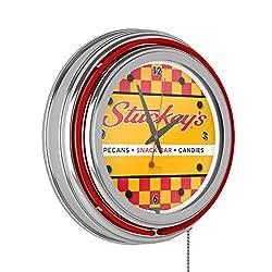 Stuckey's Checkered Chrome Double Ring Neon Clock