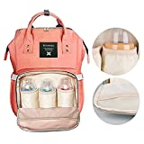 Diaper Bag Backpack,Large Capacity Multi-Function Waterproof Travel Nappy Bags, Nursing Bag for Baby Care,Stylish and Durable. (orange-pink)