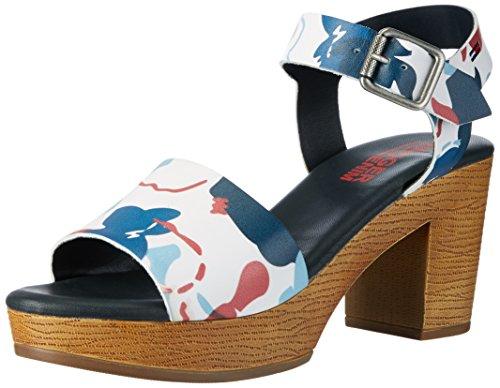 Tommy Hilfiger A1385lice 1a2, Sandalias con Cuña Para Mujer Azul (Denim Floral 901)