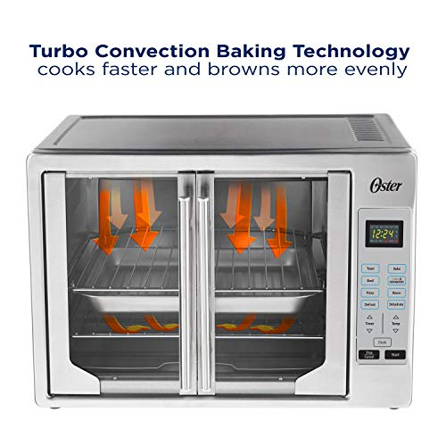 Oster French Convection Countertop & Toaster Oven | Single Door Pull & Digital Controls | Stainless Steel, Extra Large,