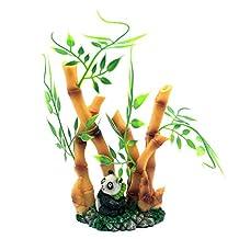 Global Market Lovely Panda Wealth Bamboo Aquarium Decoration Plastic Resin
